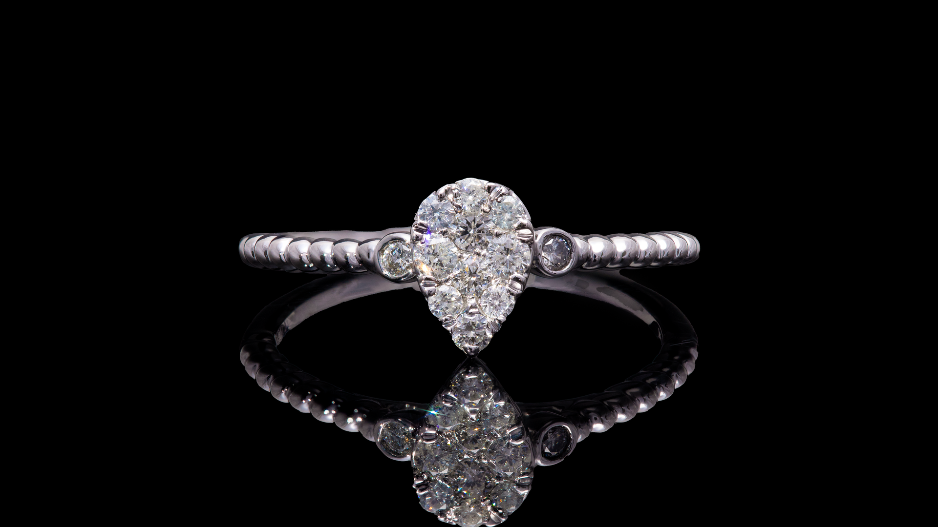 14K White Gold Pear Shape Cluster Promise Diamond Ring
