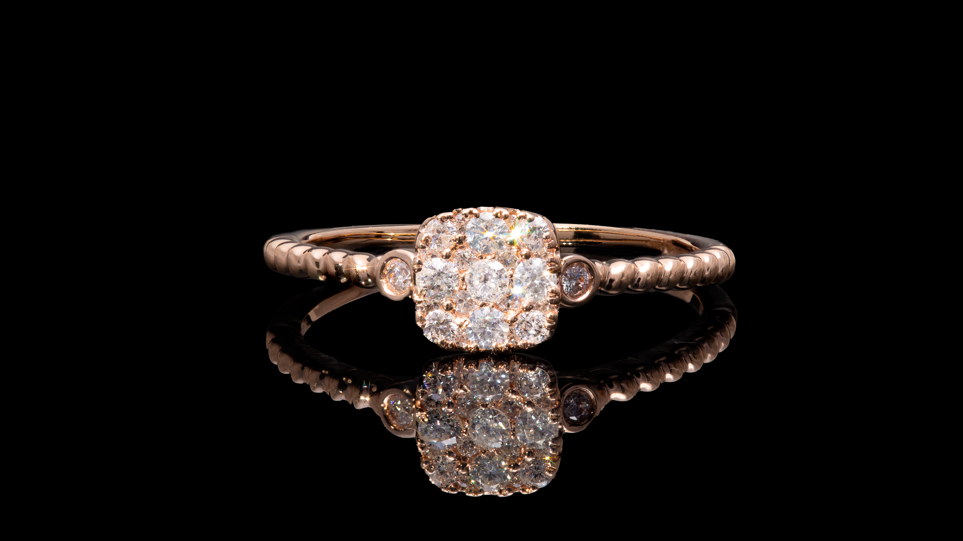 14K Rose Gold Cushion Cluster Promise Diamond Ring