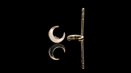 14K Yellow Gold Moon Stud Earrings
