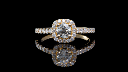 18K Yellow Gold Cushion Shaped Diamond Engagement Ring