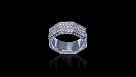 10K White Gold Octagon Diamond Band Ring
