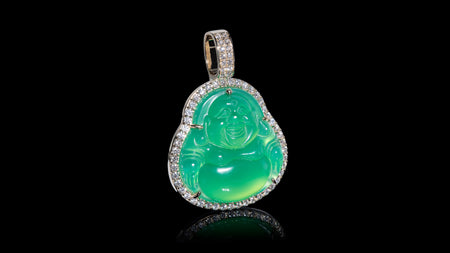14K Yellow Gold Green Jade Diamond Pendant