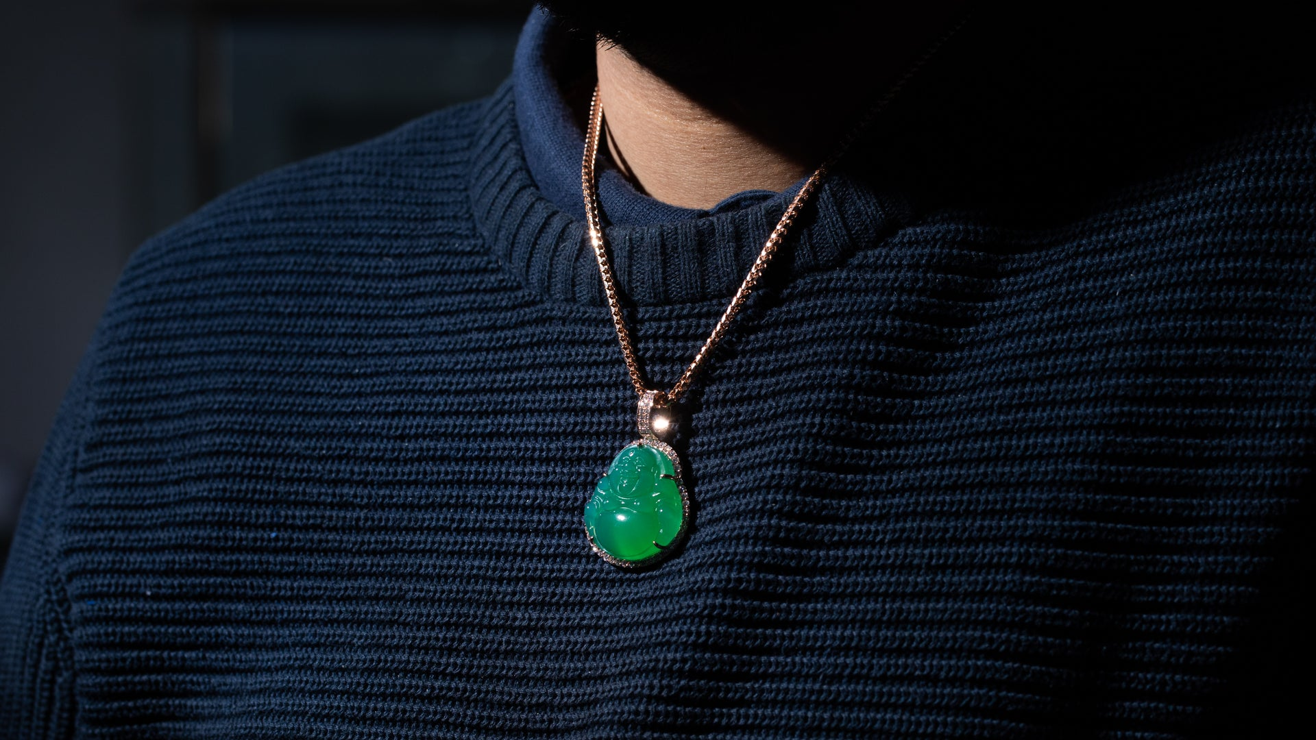 14K Rose Gold Green Jade Diamond Pendant