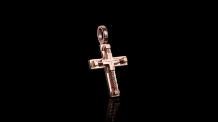 10k Rose Gold Rope Cross Pendant