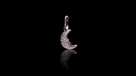 14K Rose Gold Crescent Moon Charm Diamond Pendant