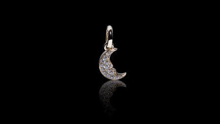 14K Yellow Gold Crescent Moon Charm Diamond Pendant