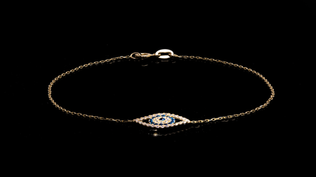 10K Yellow Gold Eye Safety Charm Bracelet