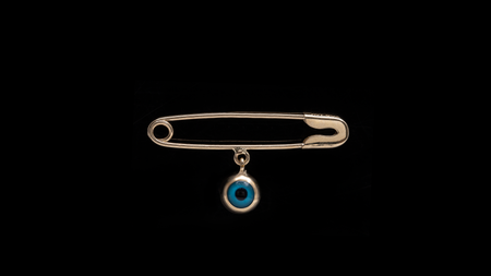 Yellow Gold Eye safety pin charm