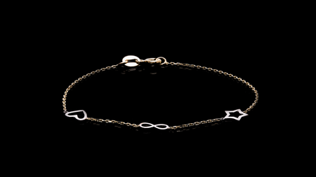 Yellow Gold star 3 charms Bracelet