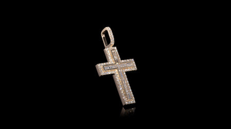 14K Yellow Gold Layered Baguette Diamond Cross Pendant
