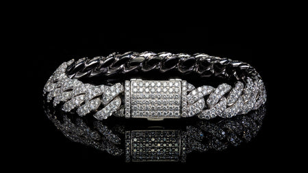 10k White Gold ToranoMax Setting Cuban Link Diamond Bracelet
