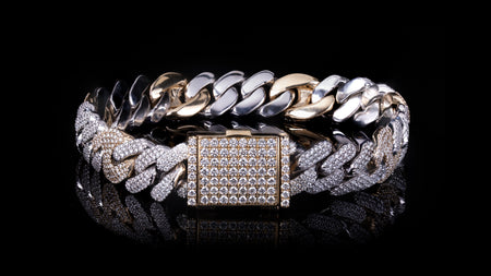 10k Two-Tone Gold Fancy Cuban Link Diamond Bracelet