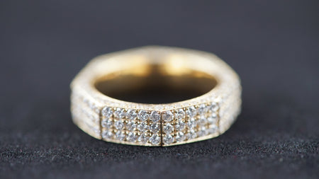 14k Yellow Gold 3D Octagon 3 Row Diamond Band Ring