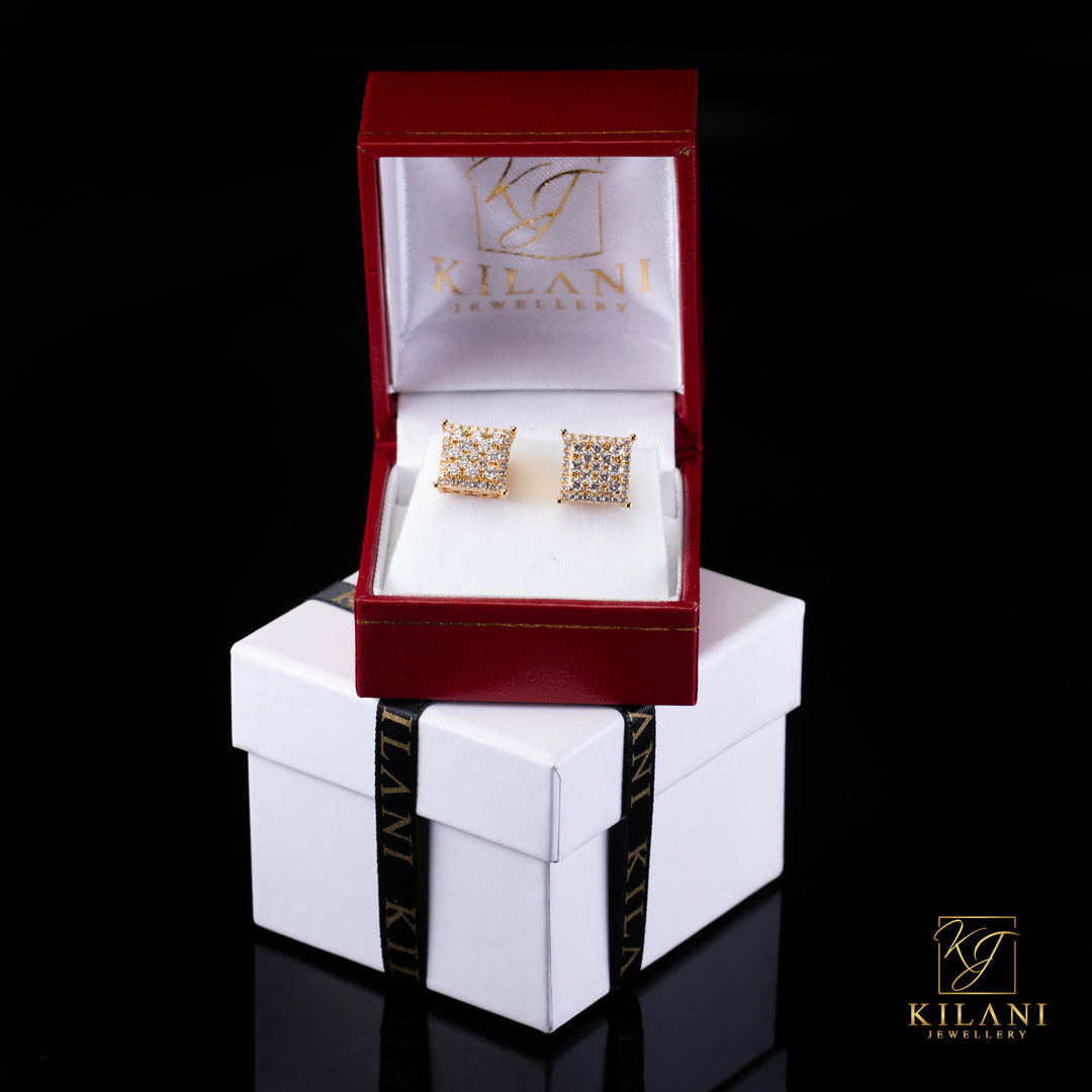 [SPECIAL] 14k Yellow Gold Layered Square Diamond Earrings