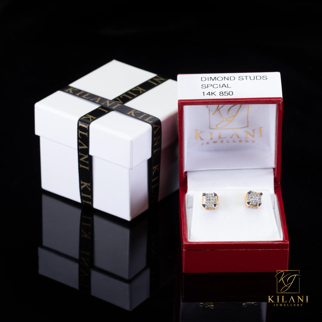 [SPECIAL] 14k Yellow Gold Rounded Square Diamond Earrings
