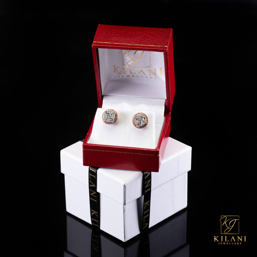 [SPECIAL] 14k Two-Tone Gold Layered Circle Diamond Earrings