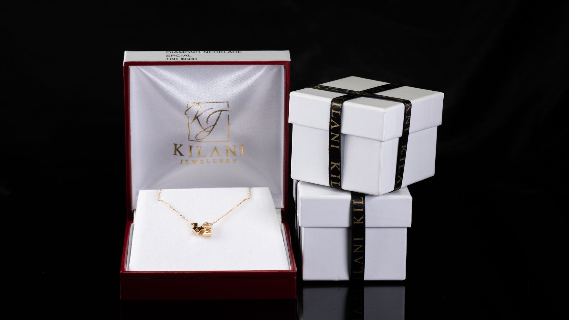 [SPECIAL] 18k Yellow Gold Love Square Diamond Necklace