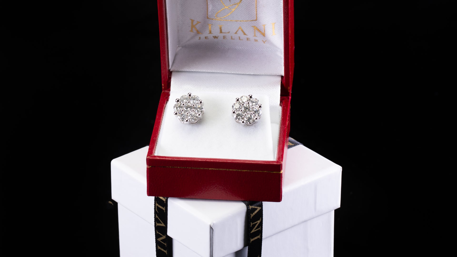 [SPECIAL] 14k White Gold Honey Comb Style 1 Diamond Earrings
