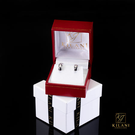 [SPECIAL] 10k White Gold Heart Shape Hoop Diamond Earrings