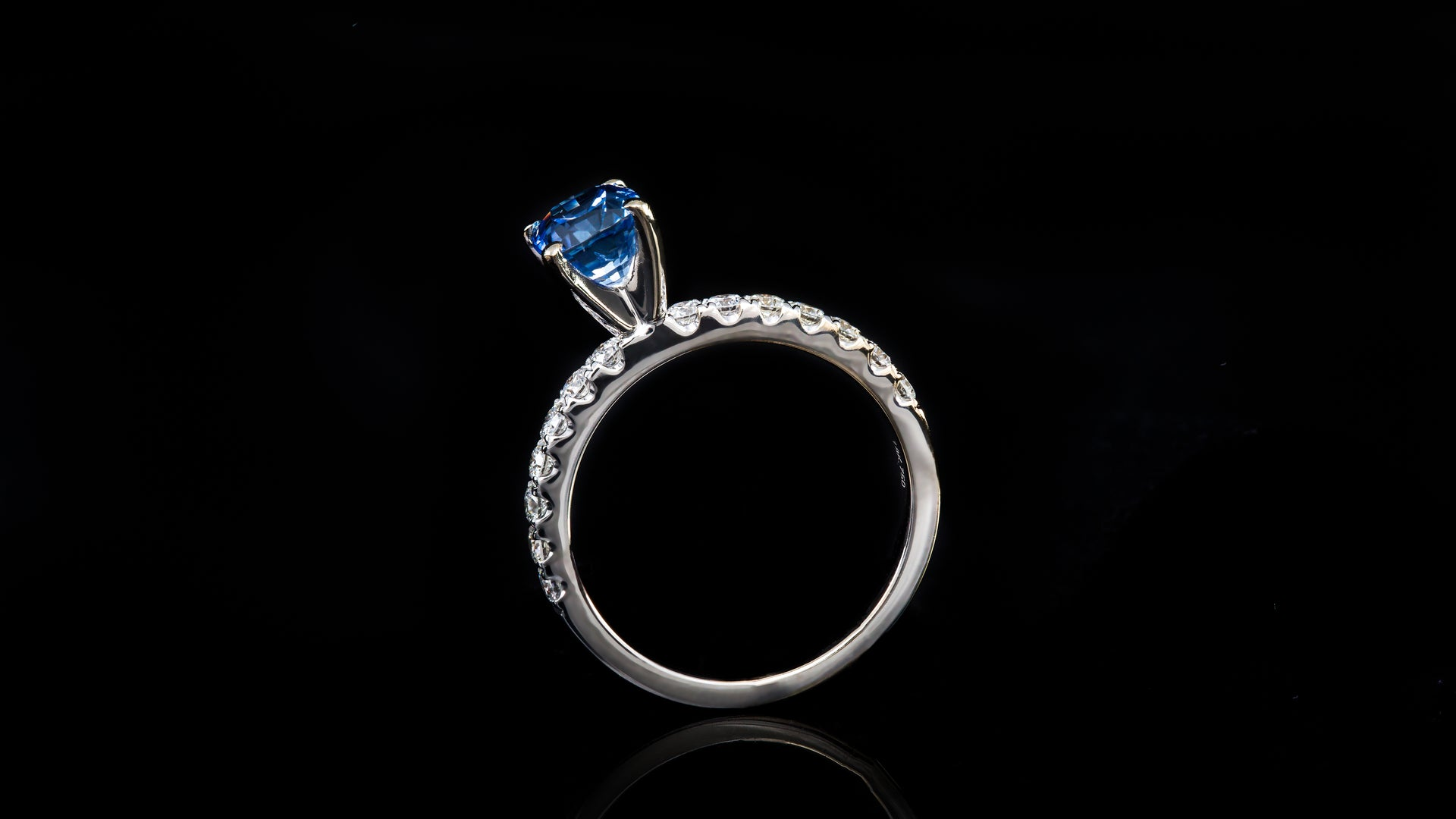 14K White Gold Four Prong Blue Sapphire Solitaire Engagement Ring