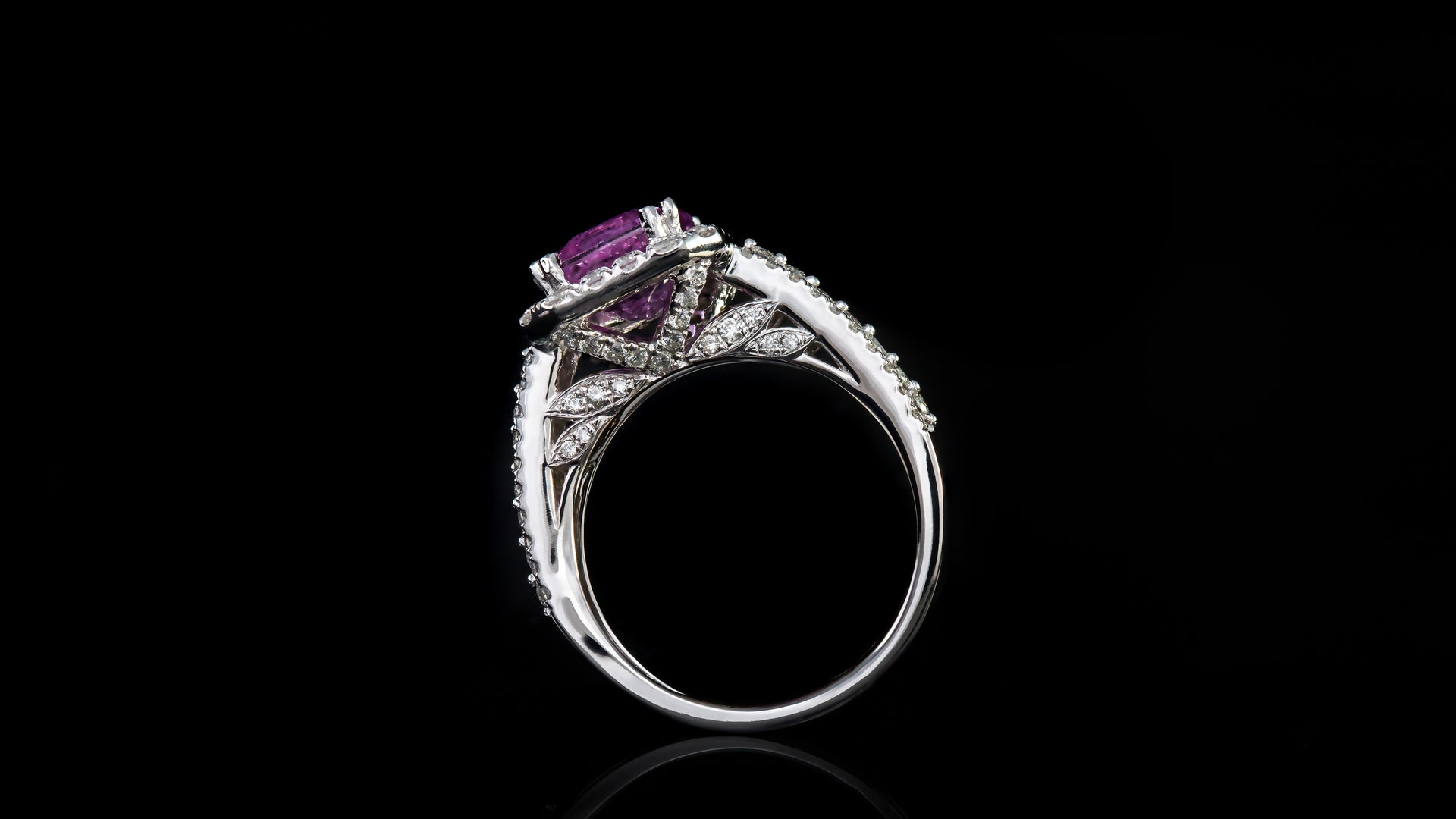 14k White Gold Rectangle Pink Sapphire In Halo Engagement Ring