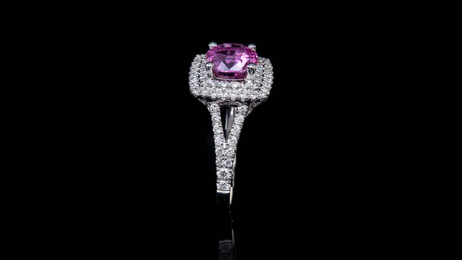 18k White Gold Pink Sapphire In Layered Square Halo Engagement Ring