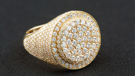 10k Yellow Gold Layered Signet Diamond Ring