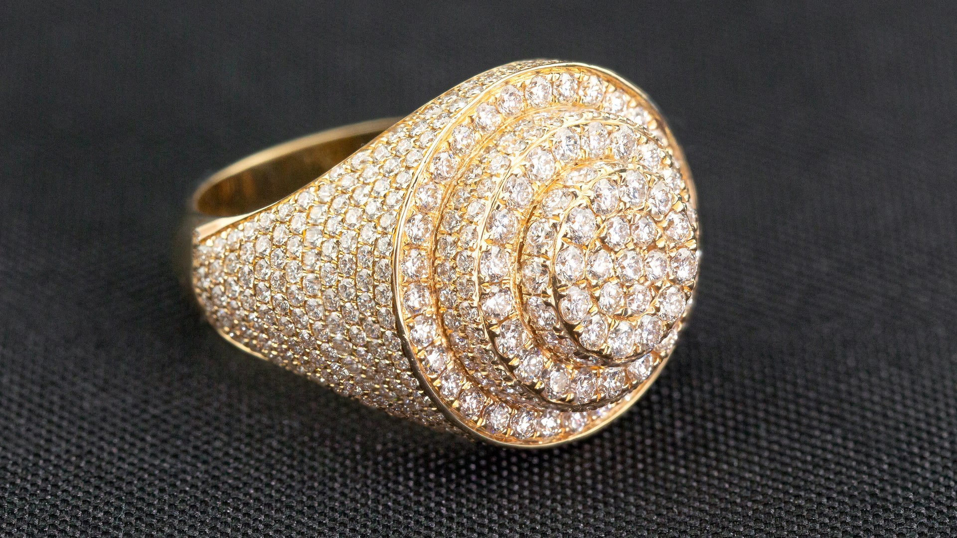 10k Yellow Gold Triple Layer Signet Diamond Ring