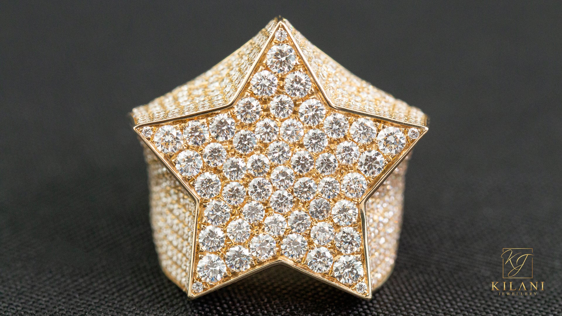 10k Yellow Gold Star Diamond Ring