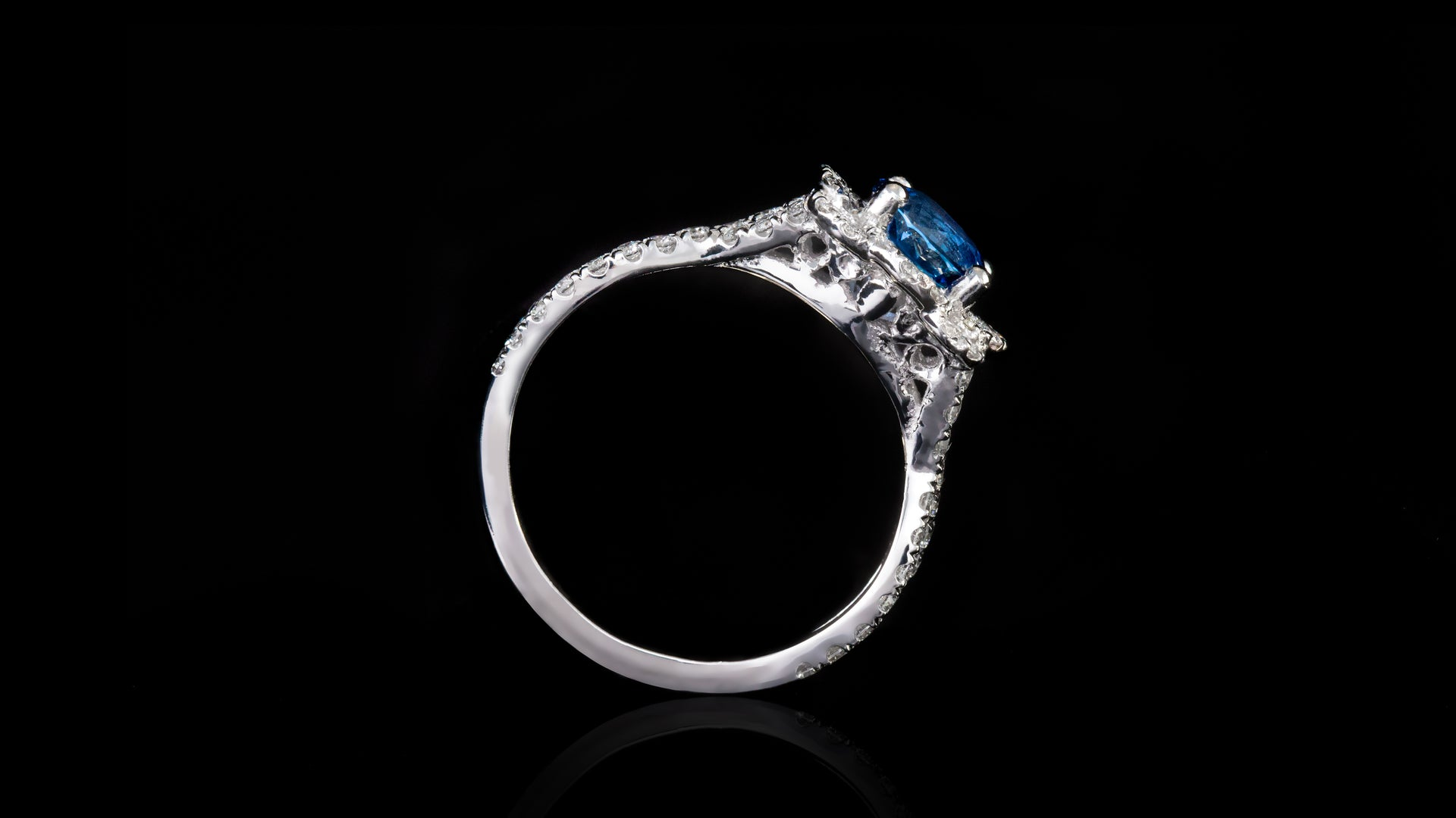 19k White Gold Braided Shank With Blue Round Sapphire Engagement Ring