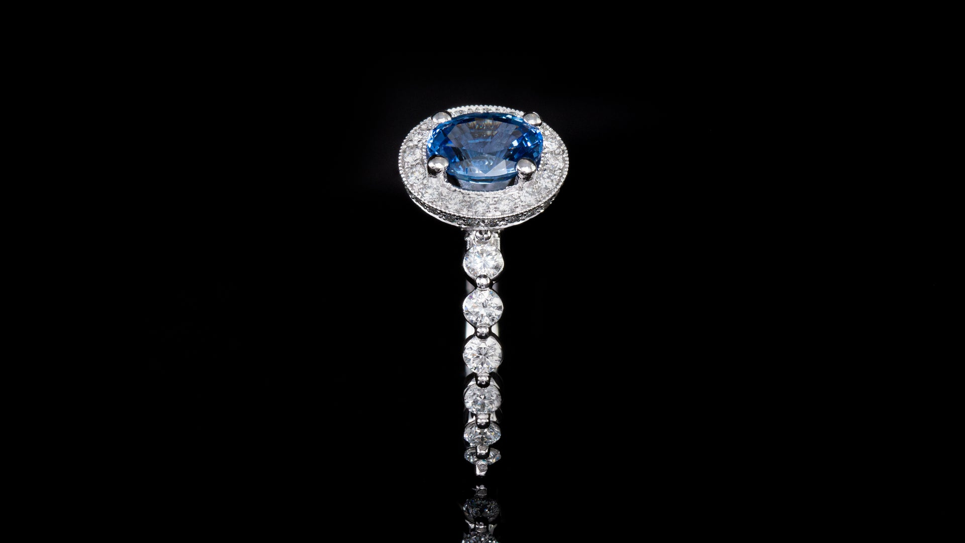 19k White Gold Classic Milligree With Blue Oval Sapphire Engagement Ring