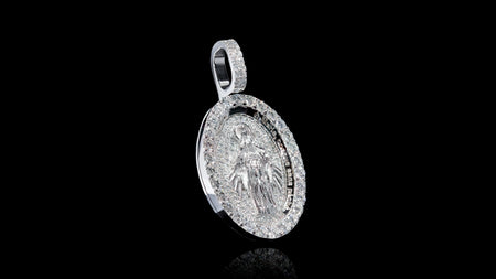 18K White Gold Virgin Mary Diamond Pendant