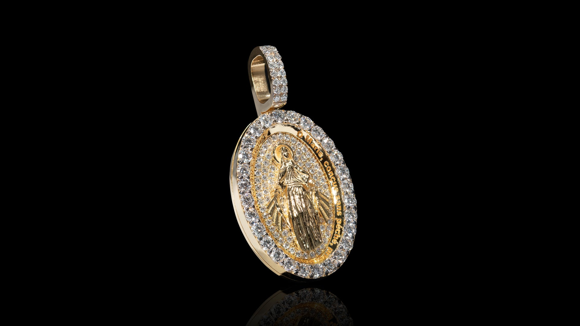 18K Yellow Gold Virgin Mary Diamond Pendant