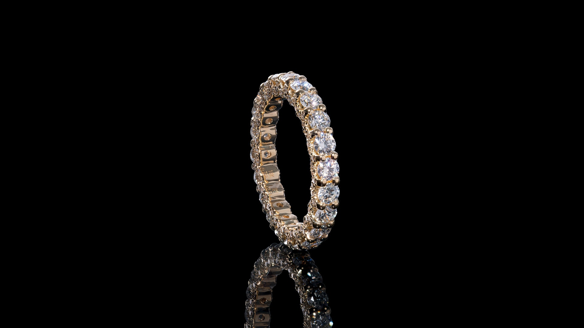 18k Yellow Gold U Shape Eternity Diamond Band Ring