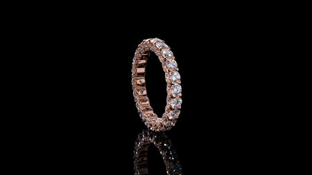 18k Rose Gold U Shape Eternity Diamond Band Ring