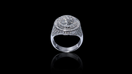 10K White Gold Layered Dome Diamond Ring