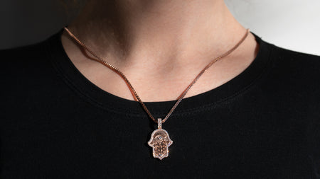 10K Rose Gold Hamsa Hand Diamond Pendant