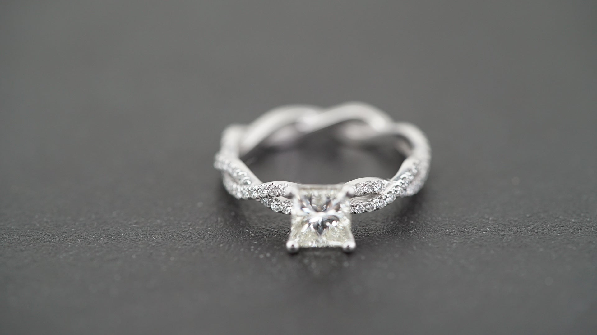 19K White Gold Princess Cut Solitaire Ring