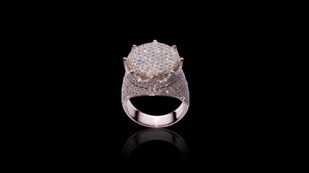 10K Rose Gold Flat Crown Diamond Ring
