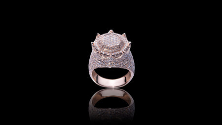 10K Rose Gold Octagon Crown Diamond Ring