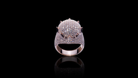10K Rose Gold Dome Crown Diamond Ring