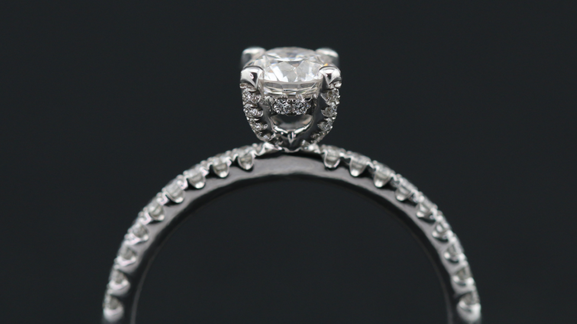18K White Gold Hidden Halo Solitaire Engagement Ring