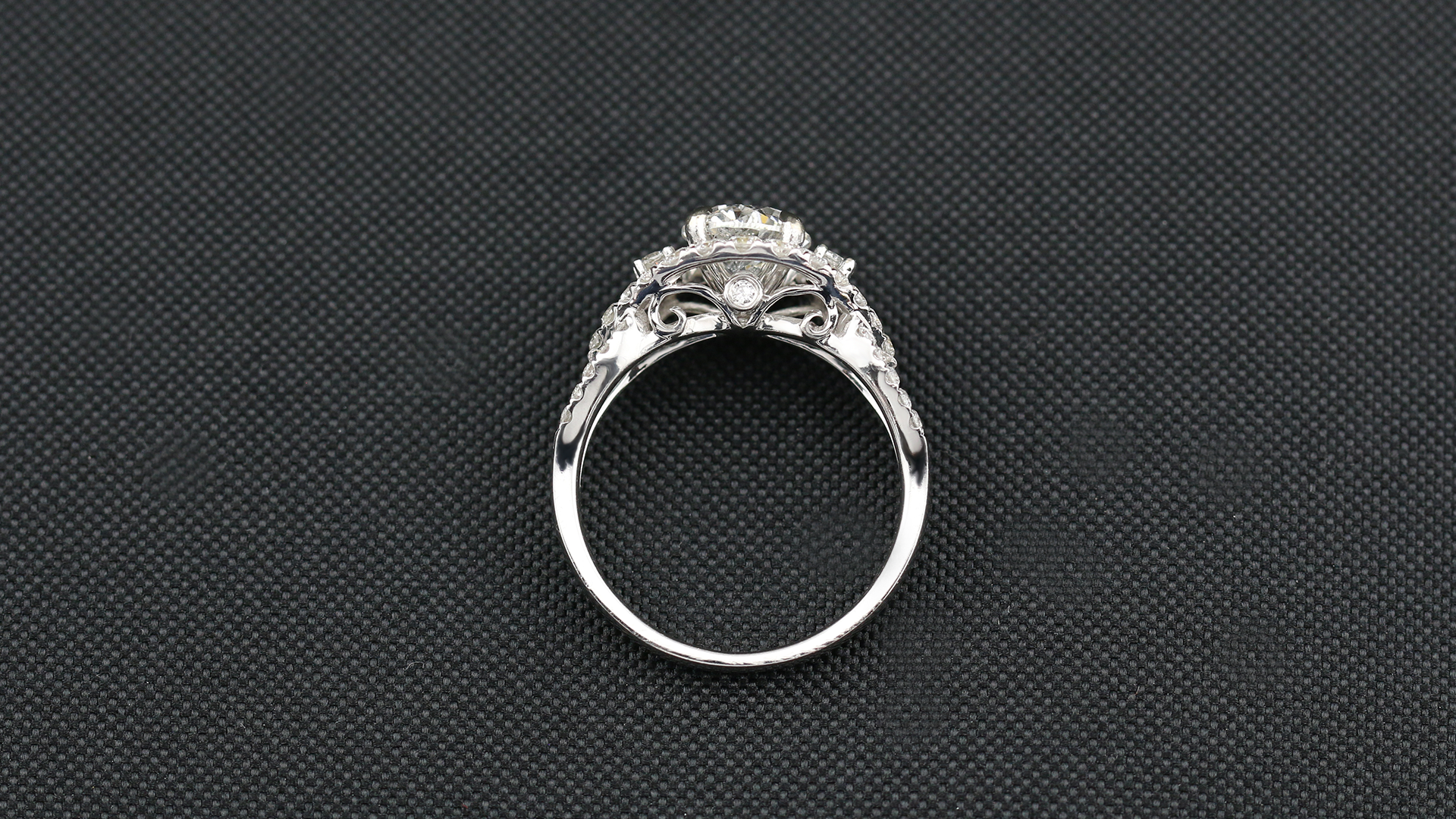 14k White Gold Past Present Future Halo Engagement Ring