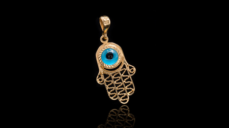 10K Yellow Gold Hamsa Eye Pendant