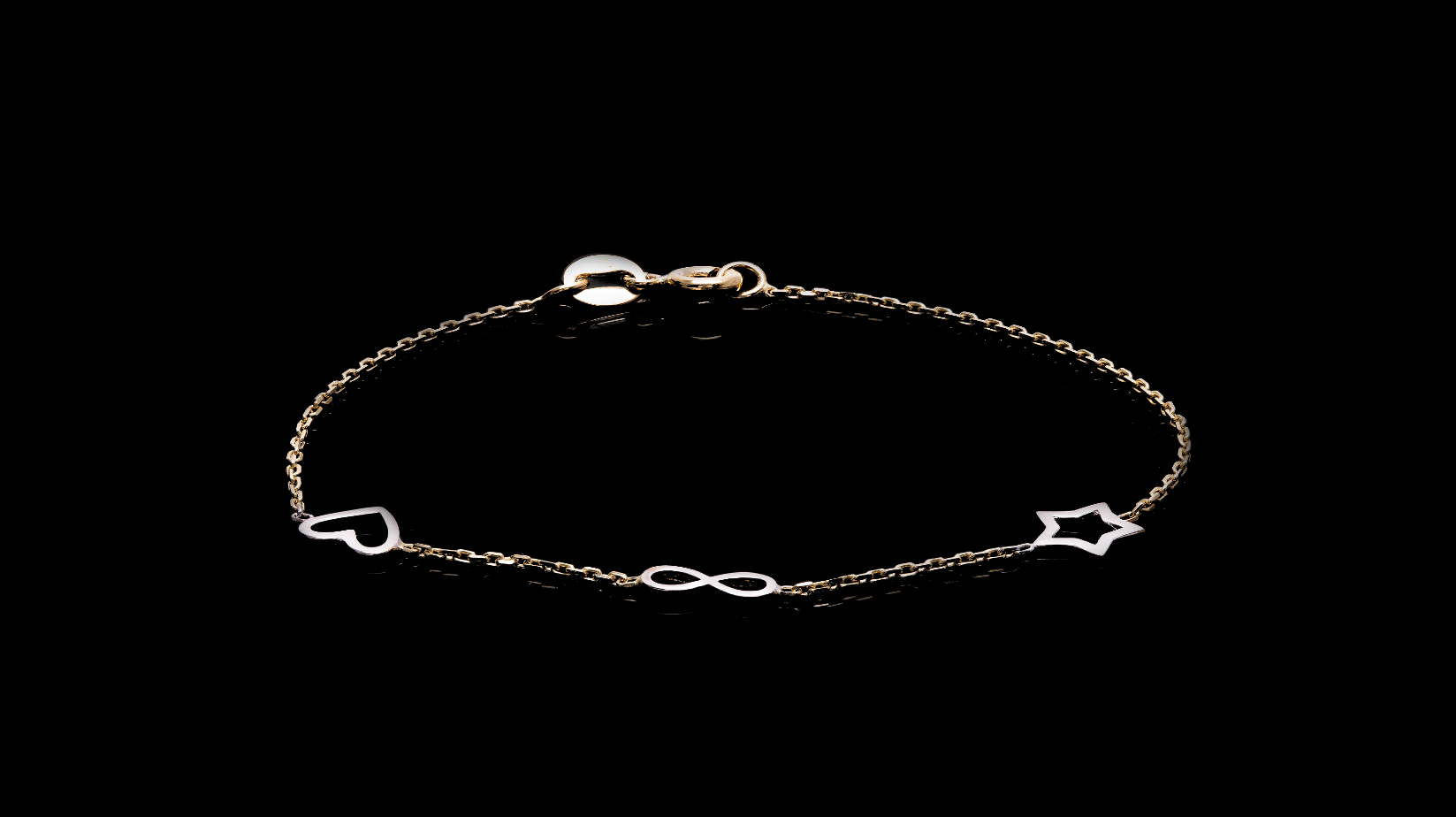 10K White & Yellow Gold Heart Infinity Star Baby Bracelet