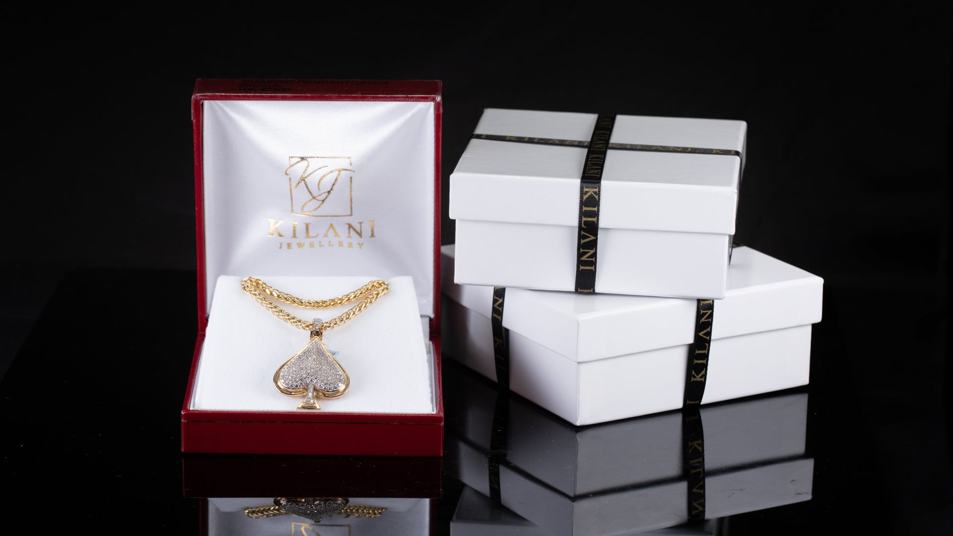 [SPECIAL] 10k Yellow Gold Ace Shape Diamond Pendant & Chain