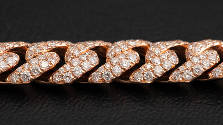 14k Rose Gold ToranoMax Setting Cuban Link Diamond Bracelet
