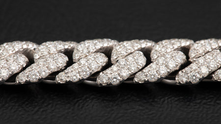 14k White Gold ToranoMax Setting Cuban Link Diamond Bracelet