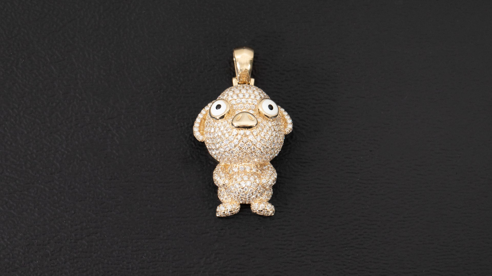 14k Yellow Gold Pig Chinese Zodiac Diamond Pendant