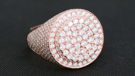 10K Rose Gold Layered Signet Diamond Ring